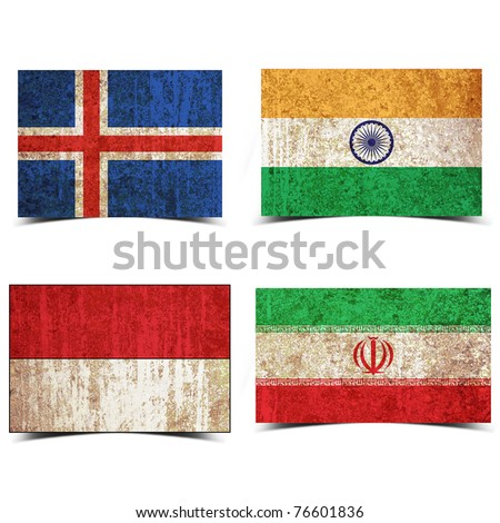 Country flag with grunge old rusty paper Iceland india indonesia iran
