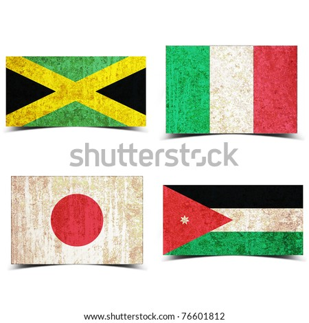 Country flag with grunge old rusty paper italy jamaica japan jordan