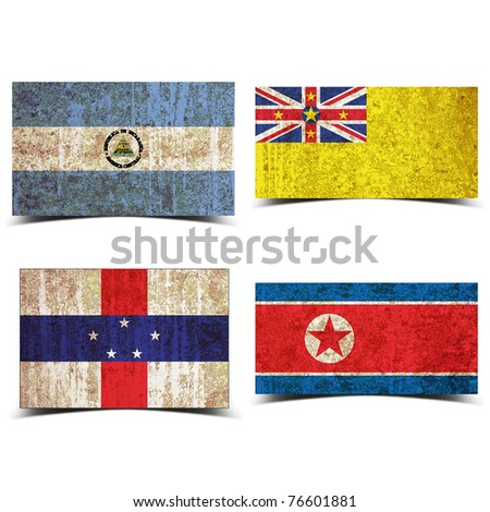 Country flag with grunge old rusty paper nicaragua niue n antilles noth korea