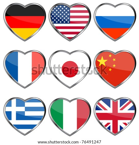 Country flags in glossy heart shapes