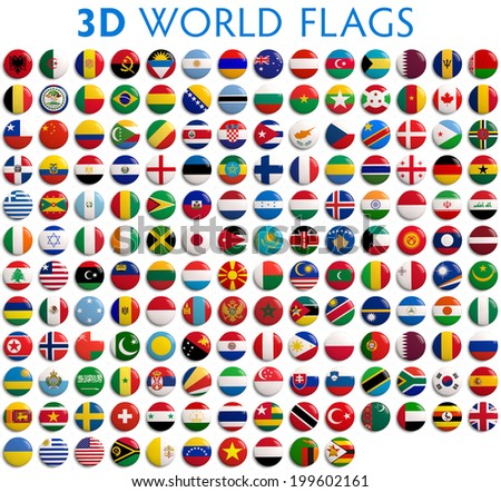 Country flags of the world - 3D realistic.   #199602161