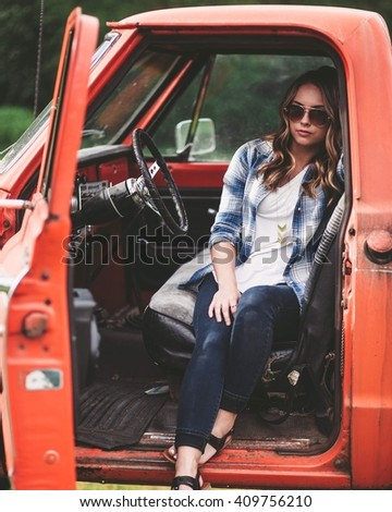 Country girl in the truck