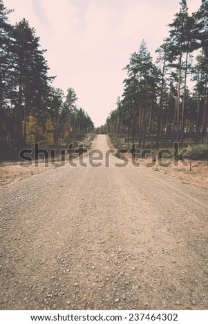 country gravel road in the forest. latvia. - retro, vintage style look