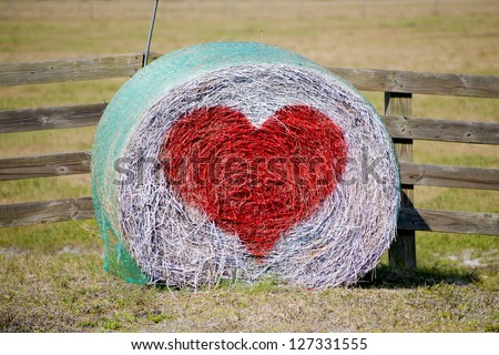 Country Hale Bale Heart Valentine