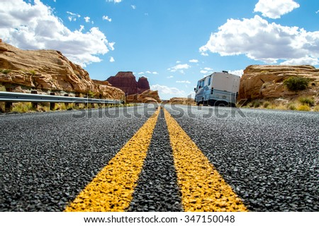 Country highway in Arizona, USA, travel adventure concept.