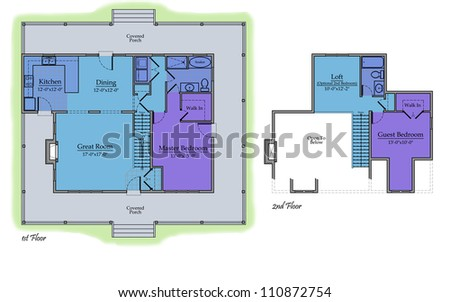 Country House Floor Plan with Color Room Names and Landscape
