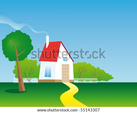 Country house in a meadow with trees