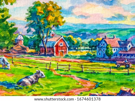 Country house. Red farm barn. Cows graze in the meadow. Autumn season. Watercolor painting.