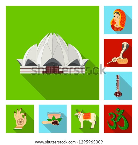 Country India flat icons in set collection for design.India and landmark bitmap symbol stock web illustration.