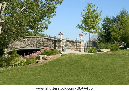 Country Land With stone Bridge walkway