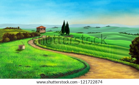 Country landscape in Tuscany, Italy, at sunset. Digital illustration.