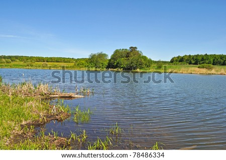 Country landscape with a lake in springtime, Russia