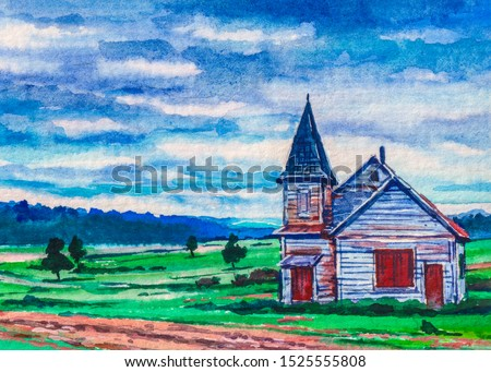 Country landscape with farmer barn or church
