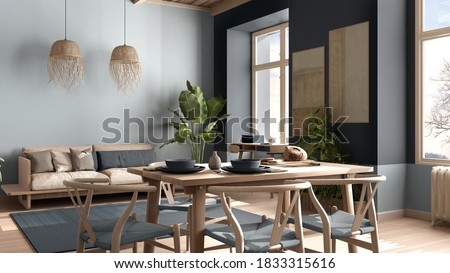 Country living room, eco interior design in blue tones, sustainable parquet, dining table with chairs, potted plants and bamboo ceiling. Natural recyclable architecture concept, 3d illustration Foto stock ©