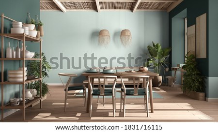 Country living room, eco interior design in turquoise tones, sustainable parquet, dining table, chairs, wooden shelves and bamboo ceiling. Natural recyclable architecture concept, 3d illustration