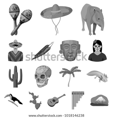 Country Mexico monochrome icons in set collection for design. Mexico and landmark bitmap,  symbol stock web illustration.