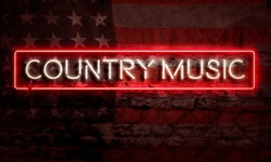 Country Music Pop Art Word Neon Sigh With American Flag Grunge Brick Graffiti Wall