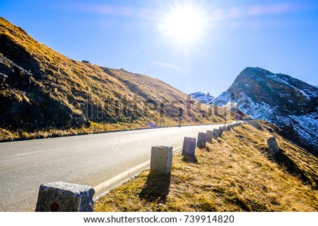 country road at the grossglockner mountains #739914820