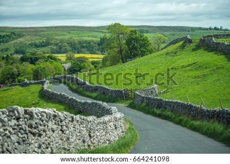 country road at Yorkshire Dales, England, UK Stock fotó ©