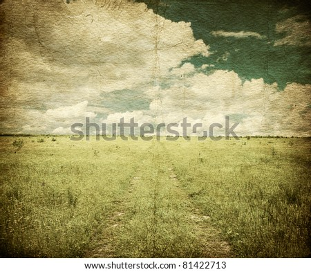 country road in the fields, old grungy illustration