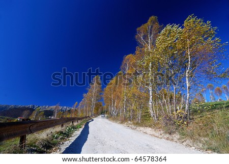 Country road landscape in autumn, Romania
