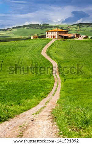 Country road leading to agrotourism