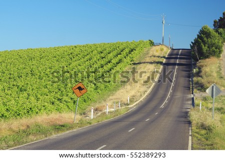 Stock Photo Country road next to vineyards in South Australia's wine producing McLaren Vale region.