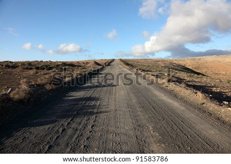 Country road on Canary Island Lanzarote, Spain