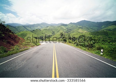 Country Road on the Mountain at Doi Phuka National Park, Nan Province, Northern Thailand #333585566
