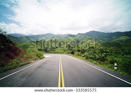 Country Road on the Mountain at Doi Phuka National Park, Nan Province, Northern Thailand #333585575