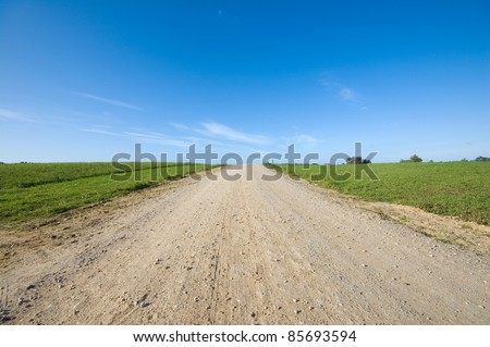 Country road running through field