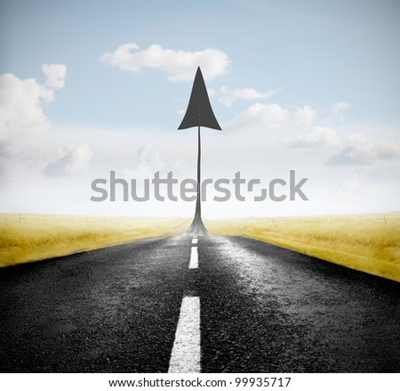 Country road with arrow upright at one extremity
