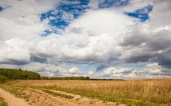 country road with clouds and sun
