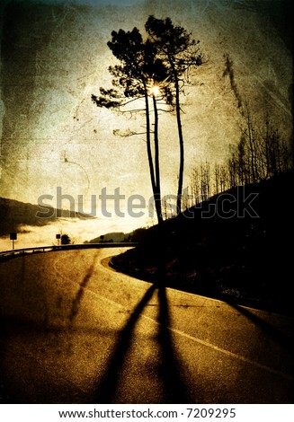Country road with grunge and aged textured background - stock photo