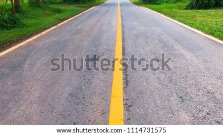 Country roadway to city, road and line lane, roadway and meadow outside, road to tourism location
