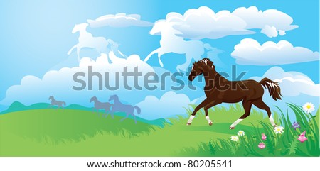 country side landscape with horses and clouds