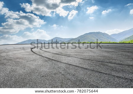country square road and mountain nature landscape in summer
