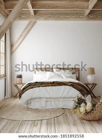 Country style bedroom interior, 3d render Сток-фото ©