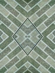 country style flooring, green ceramic tile with centered lines pattern diamond pattern