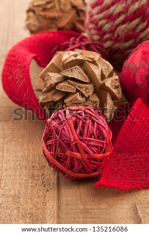 Country Style, Folk Art Christmas Ornaments and Jute Ribbon