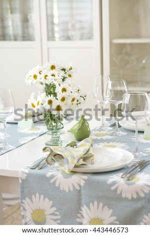 Country Style Table Setting For Summer Birthday Dinner, Selective Focus  #443446573
