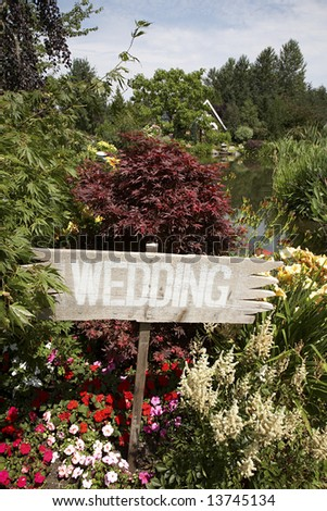 stock photo Countrystyle wedding sign