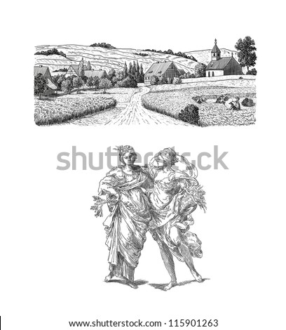 Country women illustration