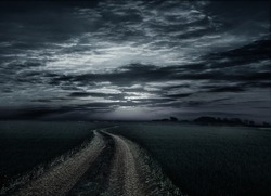 Countryroad night bright illuminated large moon