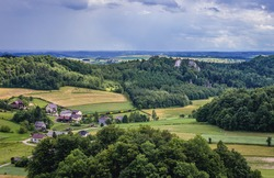 Countryside around ruins of Smolen Castle in Smolen village in Silesia Region, Poland