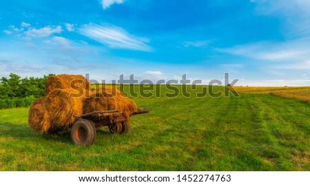 Countryside bales of hay on a old hay wagon #1452274763