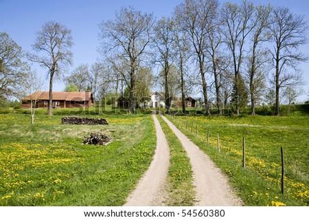 Countryside farm in spring