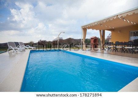 countryside house with pool
