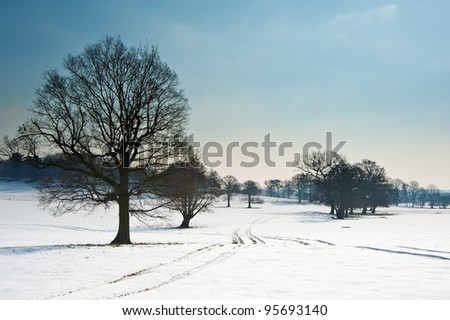 Countryside landscape across rural setting with Winter snow on ground and bright blue sky background