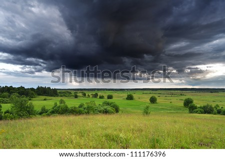 Countryside landscape, stormy weather